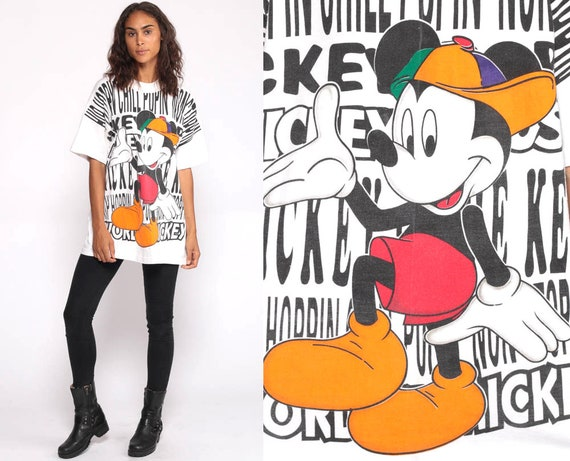 Mickey Mouse TShirt 90s Walt Disney Shirt Streetwear Hip Hop Graphic Cartoon T Shirt White Vintage Retro Tee 90s Sportswear Medium Large