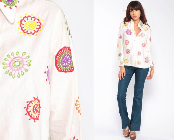 Floral Blouse EMBROIDERED Top 70s Hippie Top Off-White 1970s Boho Shirt Button Up Vintage Psychedelic Bohemian Long Sleeve Medium