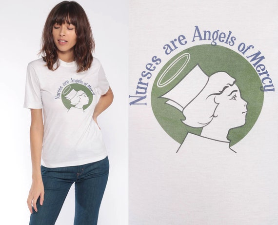 Nurse Shirt ANGELS OF MERCY Retro T Shirt 80s Graphic T Shirt Vintage Girly Baby Tee 70s Paper Thin Extra Small xs