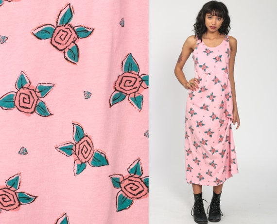 Floral Jumper Dress 90s Sundress Grunge Pink Dress Maxi Boho Floral Sun 1990s Bohemian Jumper High Waist Vintage Sleeveless Hippie Medium