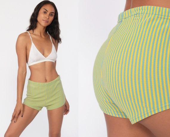 Bikini Bottoms Swim Shorts 70s Yellow Hot Pants STRIPE High Waisted Bathing Suit Mod Boyshort Vintage 70s Hotpants Blue