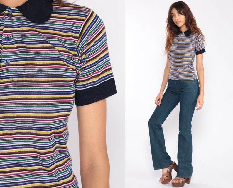 3bec98141ecb Striped Polo Shirt Rainbow Stripes Tshirt METALLIC Shirt 80s