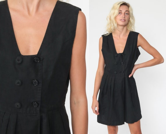 90s Playsuit Black Grunge Romper Outfit One Piece Woman 1990s Mini Dress Wide Leg Button Up Sleeveless Small Medium