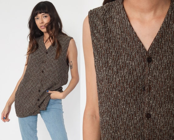 Missoni Sweater Vest Top 80s Wool Vest Brown Tank Top Knit Shirt Retro Sleeveless Sweater 90s Vintage Button Up Medium Large