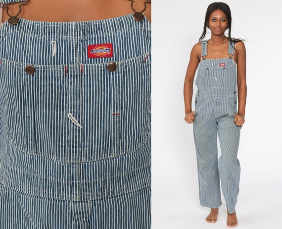 Dickies Overalls 90s Denim Bib STRIPED Overalls Baggy Dungarees Long Jean Pants Grunge Conductor Carpenter Work Wear Small Medium