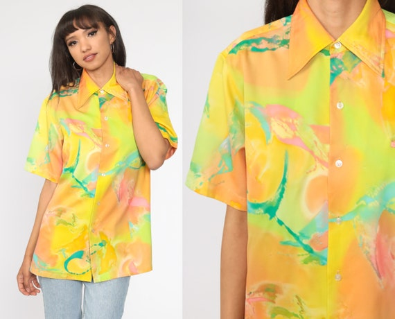 70s Boho Shirt Psychedelic Blouse Neon Yellow Acid Top Hippie 1970s Vintage Bohemian Button Up Short Sleeve Men's Extra Large xl