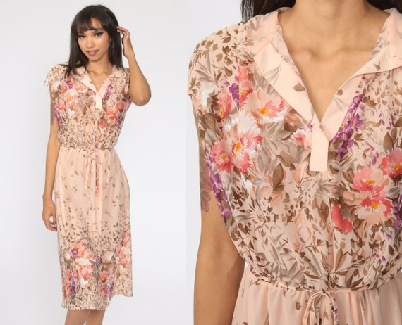 Floral Dress Midi Bohemian 70s Vintage Boho High Waisted Cap Sleeve 1970s Summer Peach Semi Sheer Secretary Retro Medium
