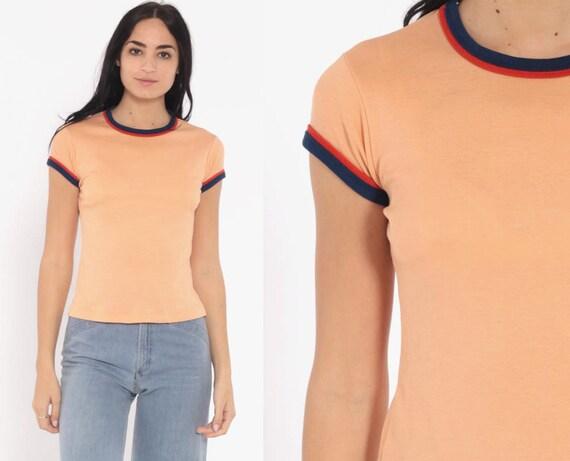 Peach Ringer Tee Shirt 70s Cap Sleeve Plain TShirt 80s T Shirt Pastel Orange Retro Tee Vintage 1970s Small