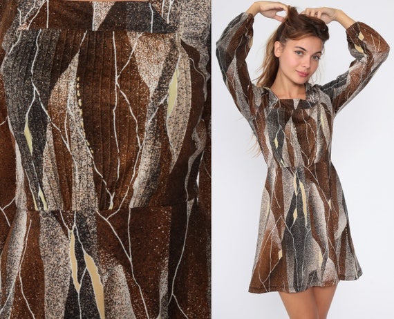 70s Mini Dress Brown Bohemian High Waisted Abstract Striped Print Boho Long Sleeve Vintage 1970s Minidress Extra Small xs