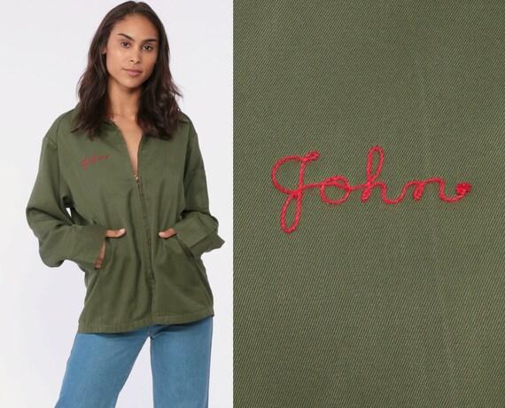 Vintage Uniform Jacket JOHN Name Jacket Zip Up Olive Army Green Jacket 80s Retro Military Zip Up Work Wear 1980s Retro Workwear Medium Large