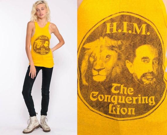 Haile Selassie Shirt Ethiopia Lion Of Judah Shirt 70s Retro TShirt Graphic Tank Top Conquering Lion Vintage 1970s Extra Small xs
