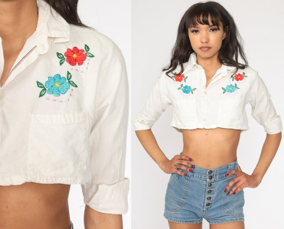 70s Boho Top EMBROIDERED Floral Blouse Crop Top White Button Up Shirt Bohemian Short Sleeve 1970s Vintage Hippie Extra Small xxs 2xs