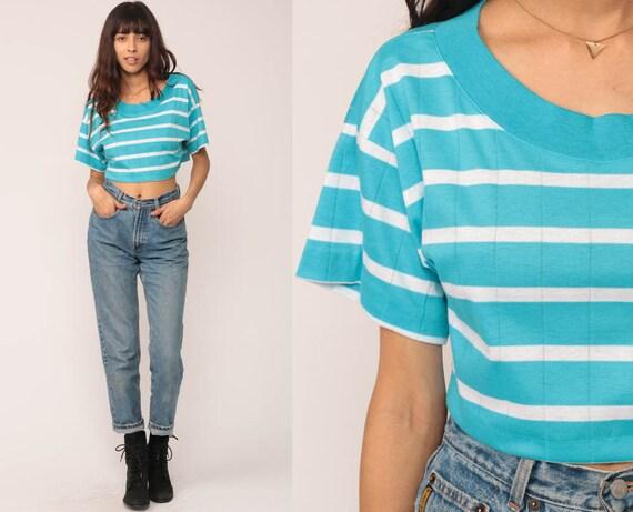 80s T Shirt CROP TOP Striped TShirt Blue White Cropped Shirt Grunge Hipster Retro Tee Vintage Bright Medium