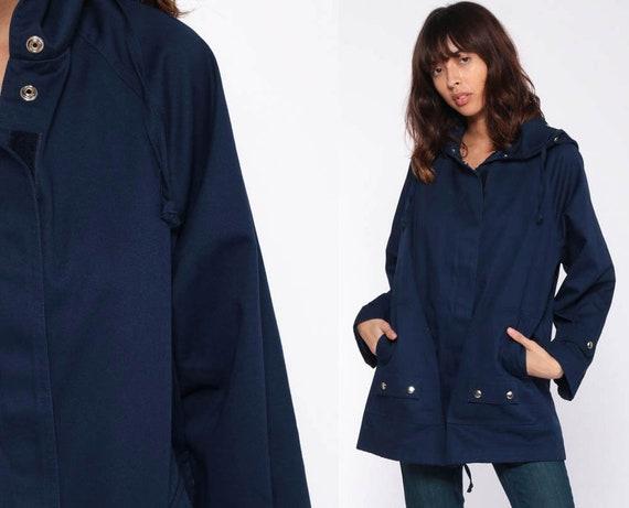 Blue Hooded Jacket 80s Windbreaker Jacket Hoodie Jacket Navy Blue Hood Retro 1980s Drawstring Hem Vintage Large
