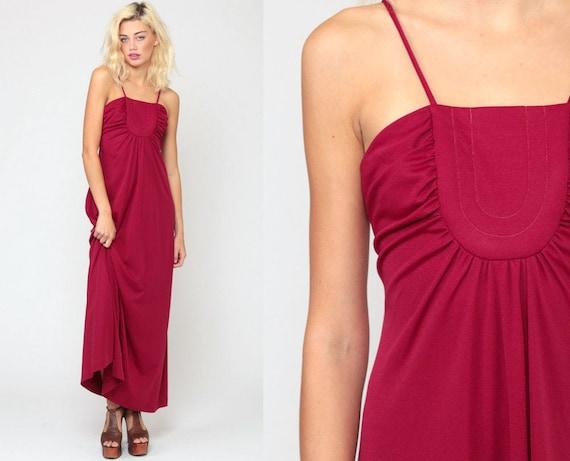 Grecian Dress 1970s Maxi Party Dress 70s Boho Dress Gathered Raspberry Dress Goddess Long Vintage Sleeveless Spaghetti Prom Extra Small xs