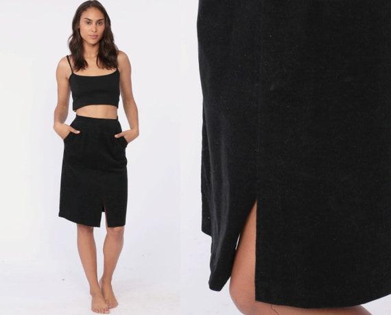 Black CORDUROY Skirt Pencil Skirt 80s High Waisted Wiggle Mini Gothic Grunge Retro Vintage High Waist Boho Hippie Extra Small xs 24