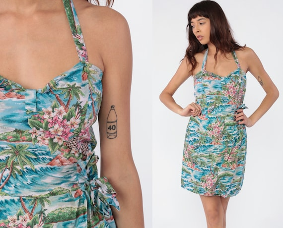 Hawaiian Dress 80s WRAP SKIRT Halter Dress Mini Boho Sundress Tropical Blue Pinup 90s Vintage Palm Tree Print Summer Small Medium