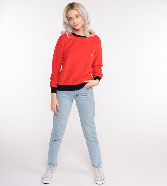 Terry Cloth Sweater 70s Red-Orange Umbrella Shirt… - image 2