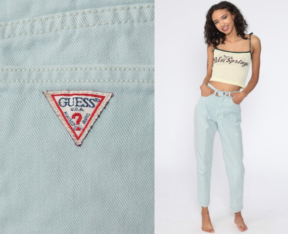 Mint Guess Jeans 90s Mom Jeans High Waist Jeans 80s Skinny Tapered Green Jeans Denim Pants 90s Vintage Extra Small xs 25