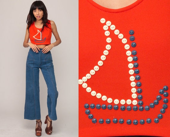 Sailboat Shirt 70s CROPPED Top Sailor Blouse Nautical Blouse Crop Top 1970s Hippie Boho Retro Orange Summer Bohemian Small