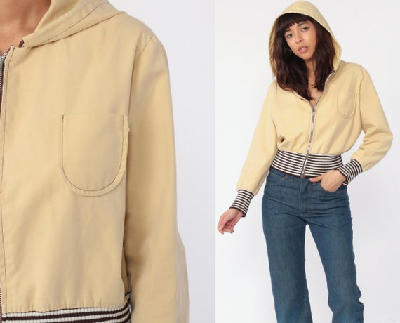 Hooded Jacket 70s Jacket Tan Retro Plain Zip Up Hooded Jacket Striped Trim Hoodie Jacket Hood Vintage 1970s Retro Extra Small xs