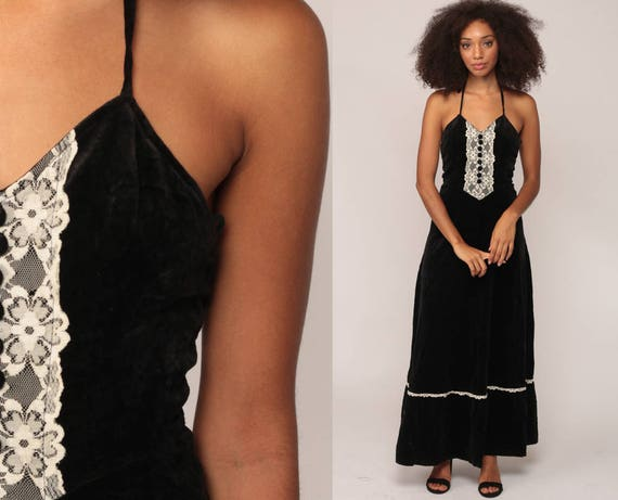 Black Velvet Dress 70s Boho LACE Halter Neck Maxi Party Bohemian Gothic High Waist Vintage Goth Cocktail 1970s Backless Extra Small xs