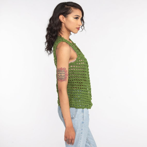 Crochet Vest Olive Green Knit Top 70s Hippie Boho… - image 4