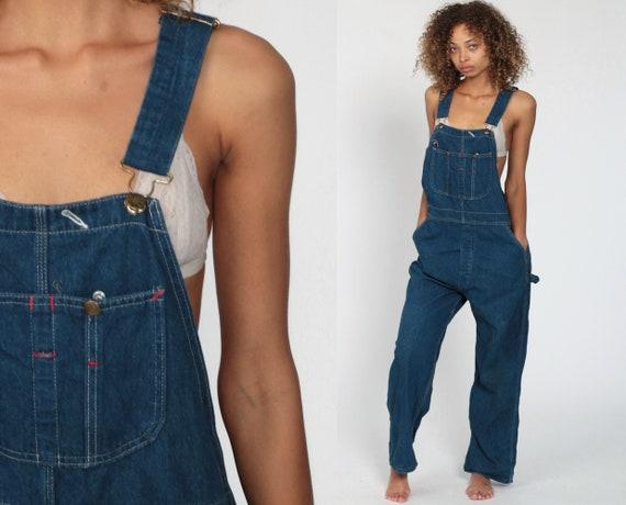 Denim Overalls Pants Jeans 80s Denim Bib Yank Bib Overalls Pants Baggy Dark Blue Long Jean Dungarees Button Fly Vintage Extra Large xl