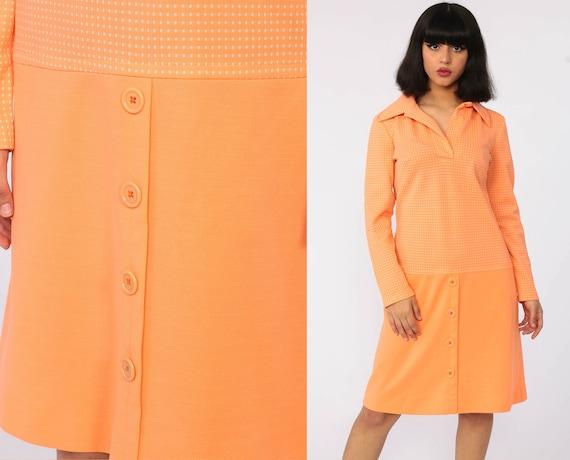 60s Mod Dress Orange Drop Waist Polka Dot Space Age Shift 70s Mini Scooter Sixties Twiggy Long Sleeve Vintage Minidress Medium