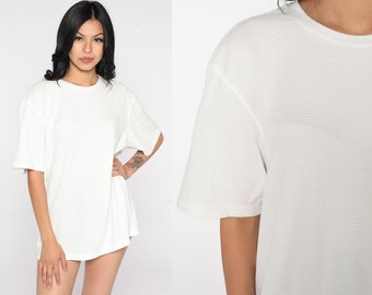 Ribbed White Shirt Vintage Calvin Klein Shirt 90s T Shirt Plain Basic Normcore Tshirt White Tee Short Sleeve 1990s Shirt Extra Large xl