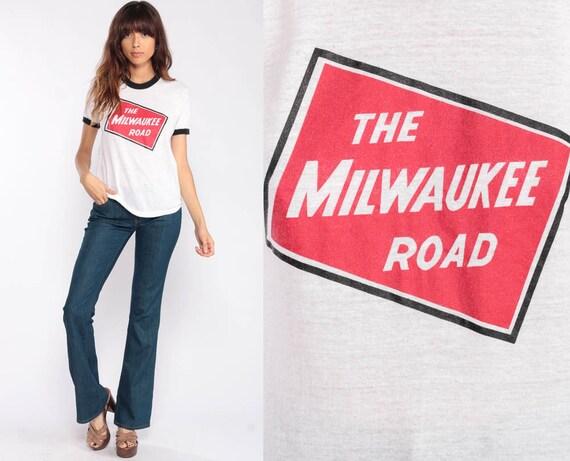 Milwaukee Shirt MILWAUKEE ROAD Shirt Ringer Tee 70s T Shirt Vintage Railroad Train Hipster T Shirt Graphic retro Tshirt Medium