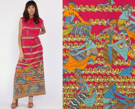 Thai Goddess Dress 70s Maxi Dress Caftan Hippie Kaftan Boho Pink Bohemian Vintage Tent Trapeze Festival Novelty Print Asian Large
