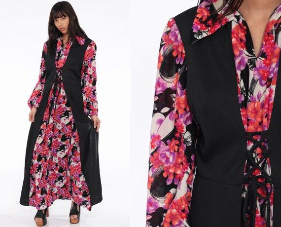 Floral Corset Dress 70s Boho Maxi LACE UP Black 1970s Hippie Bohemian Vintage Pink Purple Long Sleeve Large