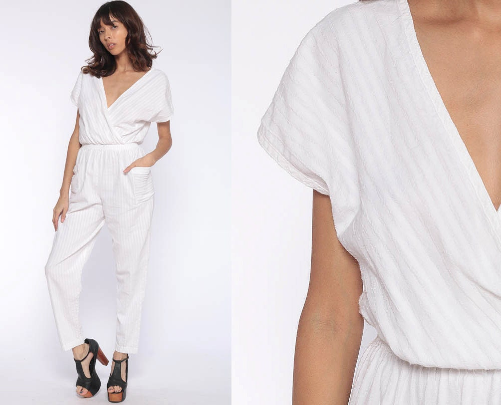 d5946ffc2b4 White Tapered Jumpsuit 80s Onesie Playsuit High Waisted Romper