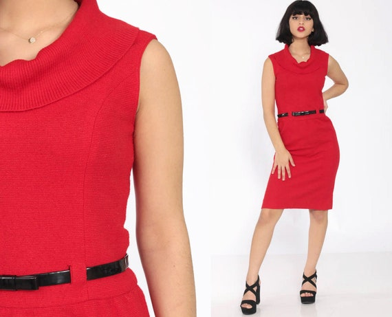 60s Wiggle Dress Red WOOL Dress Pencil Mini Sheath Mad Men BELTED High Waist Day 1960s Secretary Vintage Knee Length Extra Small xs s