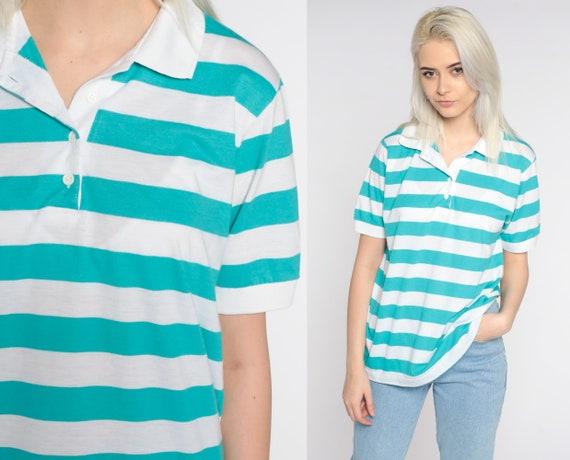 Turquoise Polo Shirt 80s Striped Shirt Blue Half Button Up Shirt Retro Collared Beige 1980s Nerd Geek Vintage Short Sleeve Medium