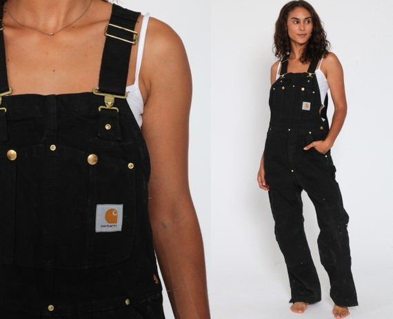 90s CARHARTT Overalls Black Work Coveralls Baggy Pants Streetwear Dungarees Coveralls Workwear Long Wide Leg Vintage Sportswear Small 36