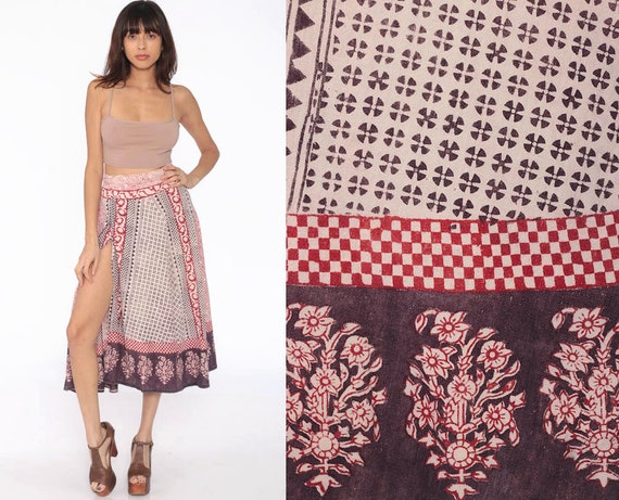 Batik Skirt Hippie Wrap 70s Boho Midi 1970s Ethnic INDIAN Cotton Floral Bohemian High Waisted Festival Rust Red Extra Small xs