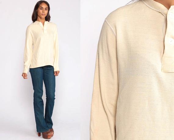 Henley Shirt Long Sleeve Shirt 70s UNDERSHIRT T Shirt WOOL Shirt 1970s Grunge Shirt Plain Top Tshirt Retro Tee Vintage Cream Small Medium