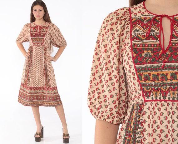 Indian Floral Dress Jody T Dress Hippie Floral Midi 70s Ethnic Puff Sleeve Empire Waist Bohemian Festival Boho Ethnic Vintage Small Medium