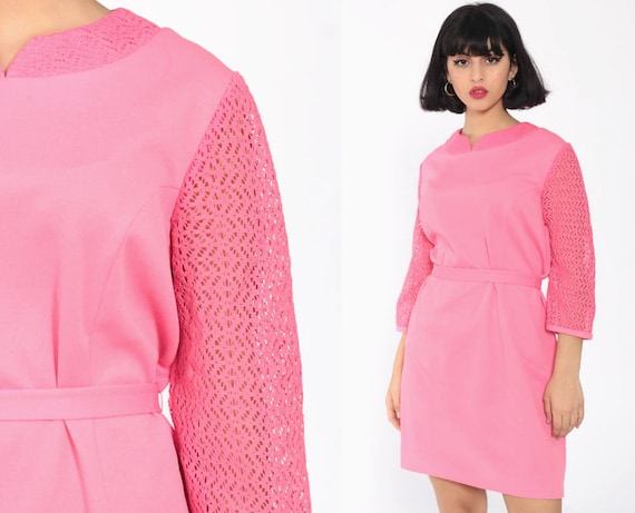 Pink Mini Dress 60s Mod Party LACE SLEEVE Twiggy Gogo 70s Polyester Space Age Belted Kawaii Bohemian Shift Vintage Sheer Sleeve Medium