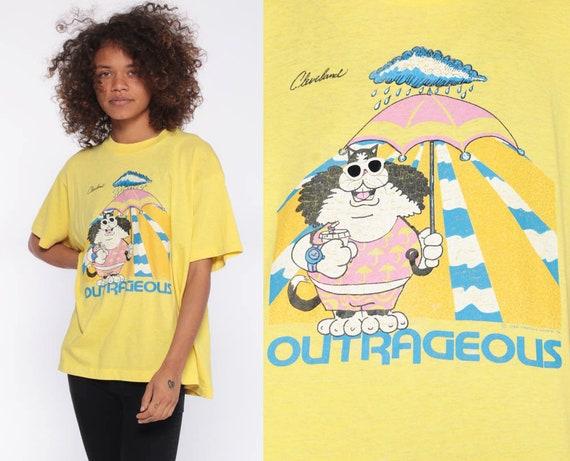 80s Outrageous Cat Shirt -- CLEVELAND Shirt OHIO Shirt Screen Stars Best Vacation T shirt 1980s Graphic T Shirt Vintage Small Medium