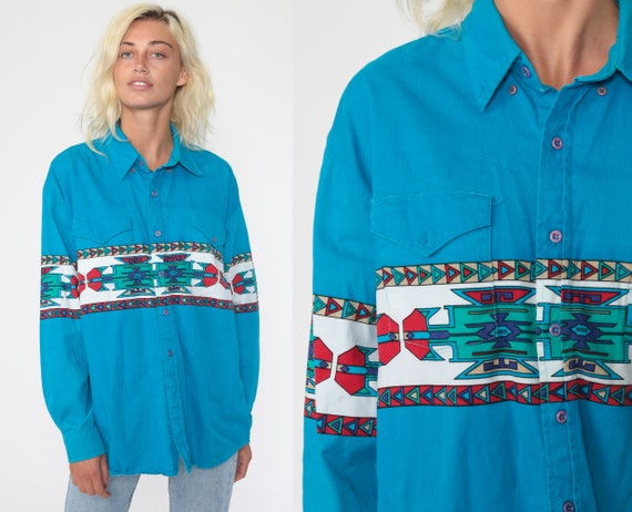 Southwest Shirt Turquoise Button Up Southwestern Print Blouse 90s Top Button Up Striped Western Tribal 1990s Vintage Long Sleeve Men's Large