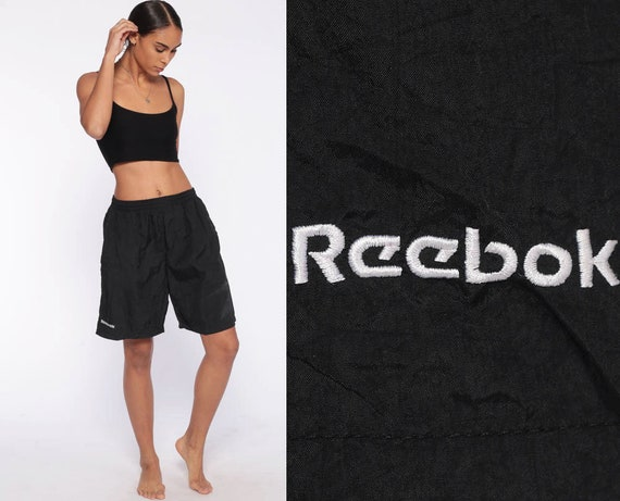 Reebok Shorts 80s Running Shorts Black Retro Jogging Shorts Gym Vintage Athletic High Waisted Hipster Joggers Medium Large