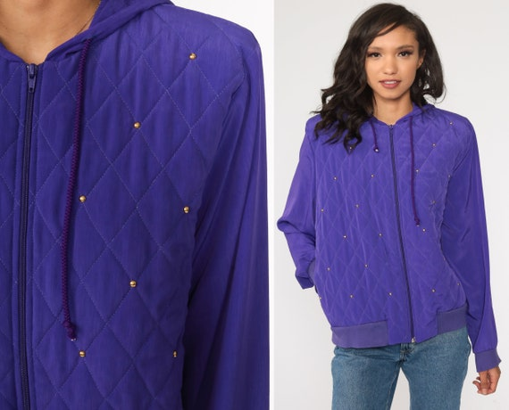 Purple Windbreaker Jacket 90s Beaded Quilted Jacket Hooded Jacket Zip Up Jacket Hoodie 1990s Vintage Shell Jacket Large