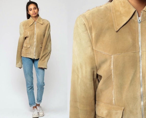 Tan Suede Jacket 70s Leather Jacket Bohemian Coat FAUX FUR LINED Boho Jacket Hippie Collared 1970s Vintage Hipster Tall Extra Small xs