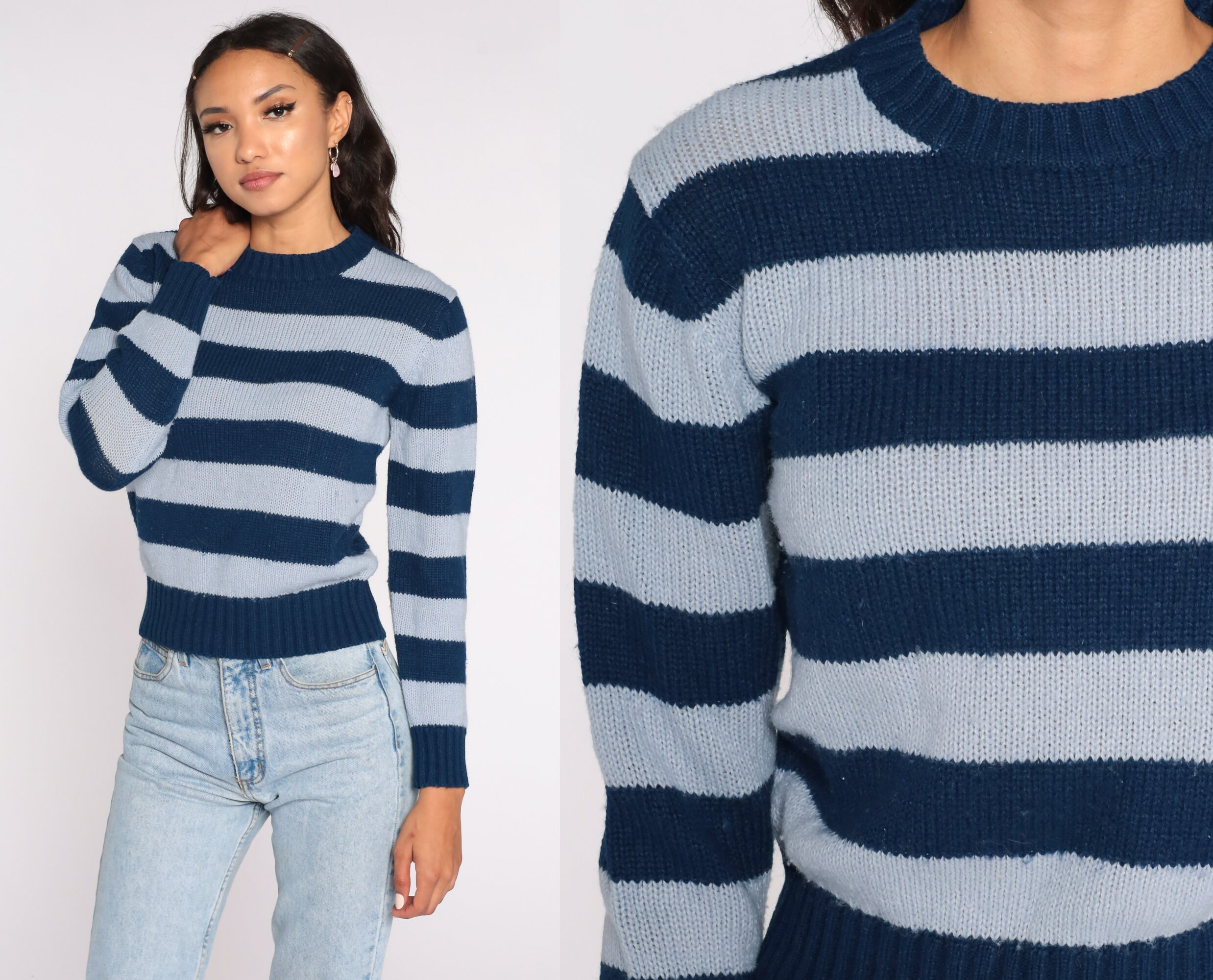80s Sweatshirts, Sweaters, Vests | Women Blue Striped Sweater Navy 80S Knit Slouchy Pullover Jumper 1980S Vintage Retro Small S $39.00 AT vintagedancer.com