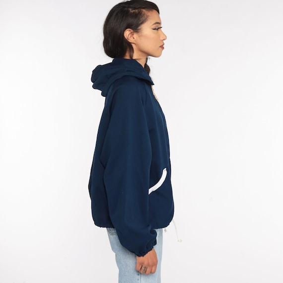 Hooded Jacket 70s Track Jacket Navy Blue Hoodie S… - image 4