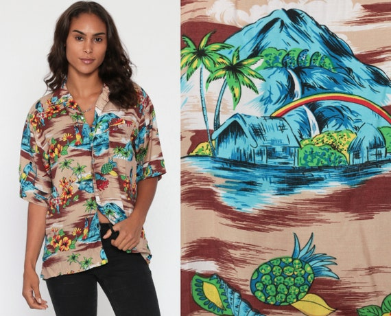 90s Hawaiian Shirt Rainbow Volcano Brown 90s Surfer Top Pineapple Fruit Blouse Heart Button Up Tiki Beach Short Sleeve Small Medium