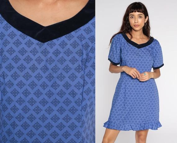 80s Dress Purple Geometric Puff Sleeve Dress Mini Dress 1980s Short Sleeve Vintage Shift Dress Muumuu Medium Large